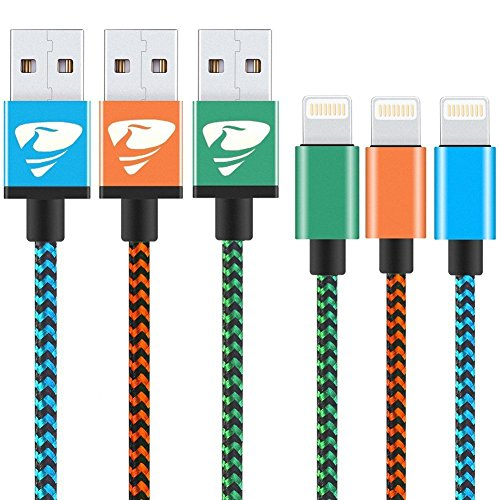 iPhone Charger Cable Xuduo Lightning Cable [3Pack 1M] Nylon Braided Fast Charging iPhone Cable for iPhone 6/X/8/8 Plus/7/7Plus/6s/5/5s/SE, iPad and More-blue,orange,green