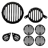 #5: Autofy Matte Black Super Fine Metal Grill for Royal Enfield Bullet Classic 350 & Royal Enfield Classic 500 (Set of 8) - Royal Enfield Stealth Black, Royal Enfield Gun Metal Grey - 1 Headlight Grill 1 Tail Light Grill 2 Parking Light Grills 4 Indicator Grills- All Models