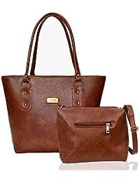 Kixx Women's Pu Leather Handbag And Sling Bag Combo(Brown 3K047)