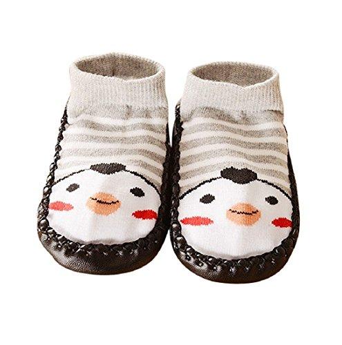Auxma Baby-Jungen-Mädchen-Kind-nette Karikatur-Kleinkind-Gleitschutzsocken-Schuhe-Aufladungs-Hefterzufuhr-Socken für 0-24 Monate (12-24M, Grau)