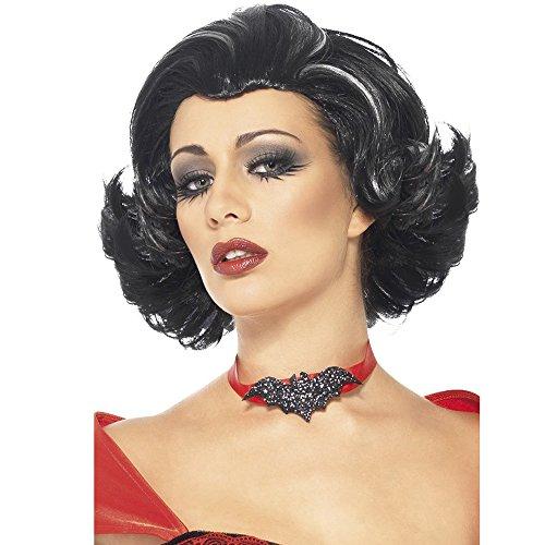 Boudoir Vampir Perücke, Schwarz mit weißen Strähnen, One Size, 24624 (Boudoir Kostüme)
