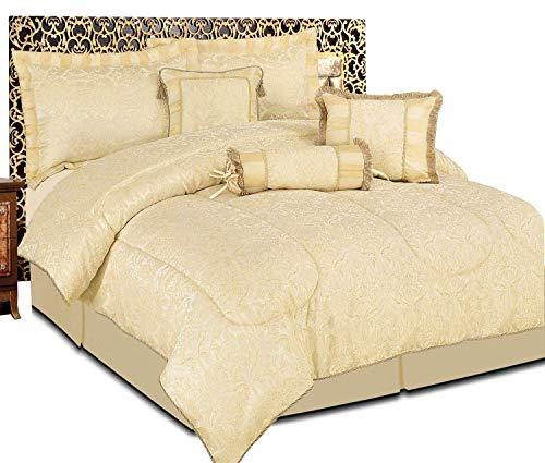 Luxuriöses Bettwäsche-Set, 7-teilig, Jacquard, gestepptes Tagesdecken-Set, Bettwäsche-Set + 2Kissenbezüge: für Doppelbett und Kingsize-Bett, Amazon Beige, Doppelbett - 7 Stück Jacquard-bett