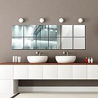 16 Piezas Cuadrados Espejos de Pared, DIY Decoración de la Pared para la Sala de Estar, Comedor, Cocina, Oficina