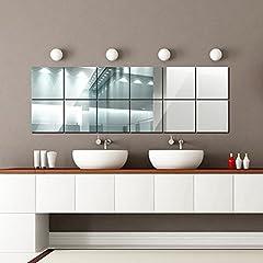 Idea Regalo - 16 Pezzi Adesivi Specchio,15cmX15cm Removibile DIY Sticker da Parete Decorazione per Bagno Camera da Letto