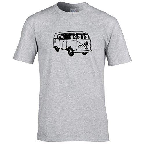 Naughtees kleidung - VW Wohnmobil T-shirt Geteilte scheibe klassisch wohnwagen schlemmen Sport Grau