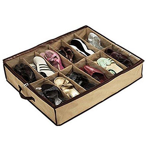 12 pares seguryy tela zapatos para debajo de la cama organizador del almacenaje del zapato bolsas