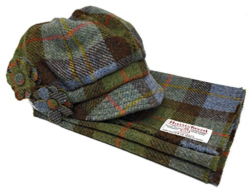 Harris Tweed Baker Boy Stil Hut und Schal Set in Blau MacLeod Tartan