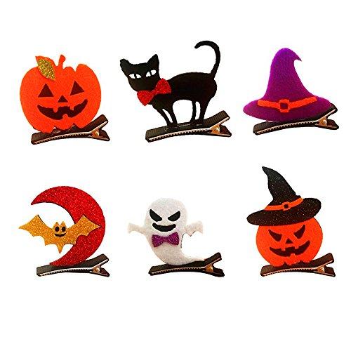 AAAHOMEEU 5Pcs Halloween-Tanz verkleiden sich Kind-Stereo-Haarnadel, Fledermaus-Kürbis-Schädel-Kopfschmuck