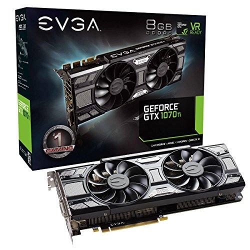 EVGA GeForce GTX 1070 Ti SC GAMING ACX 3.0 Black Edition, 8GB GDDR5, EVGA OCX Scanner OC, White LED, DX12OSD Support (PXOC) Carte Graphique 08G-P4-5671-KR