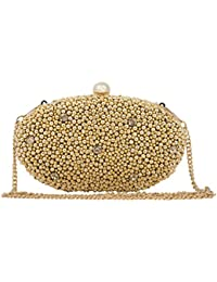 Unibrand - The Indian Handicraft Store Golden Beads And Diamonds On Oval Designer Handmade Box Clutch