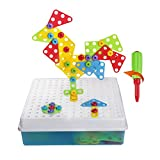 Toy - 129 Pcs Fantacolor Steckspiel DIY Spielzeug 3D Bausteine Kunststoff Intelligent Spielzeug mit Werkzeug und Schrauben für Kinder ab 3 Jahren