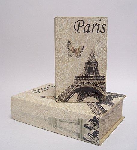 Deko Buchbox Kiste im Buchformat Aufbewahrungsbox 2er Set Motiv: Paris Eifelturm