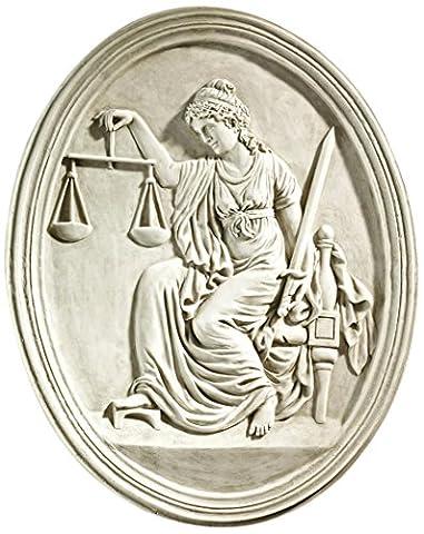 Design Toscano KY4040 Sculpture murale de La Justice de la Cour de Old Bailey Blanc Cassé 4 x 42 x 52 cm