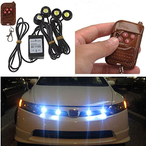 Notfall-licht-kit (Ansenesna 4in1 LED Car Eagle Eye Lamp,Car Notfall-Blitz,DRL Wireless Remote Control Lamp Kit 12V)
