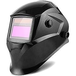 FIXKIT Masque de Soudage Electrique avec 2 Capteurs-Grand Champ de Vision-96*48mm, Protection UV:16 Etapes(Foncé: DIN 9-13) pour MIG/MAG/TIG/Rectification/Soudage l'Arc/Coupage Plasma,1 + 5 Lentilles