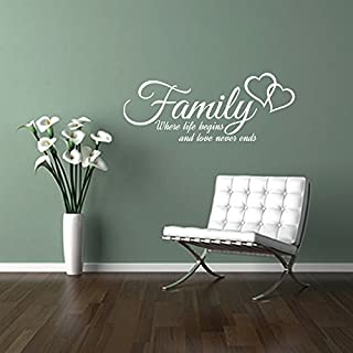 FAMILY where life begins and love never ends, quote wall art sticker decal words, WHITE, 58x23 cm