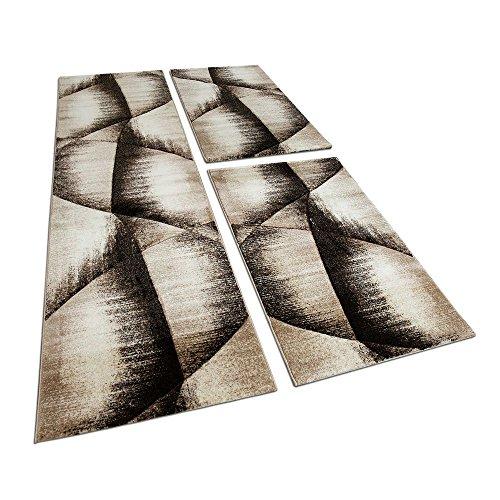 Läuferset Bettumrandung 3 Tlg Teppich Kariert mit Konturenschnitt Braun Beige, Grösse:2mal 80x150 1mal 80x300