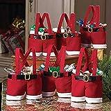 Mbuynow Conjunto de 6 Decoración de Navidad Bolsa de Regalo de Santa Pantalones, Bolso del Caramelo
