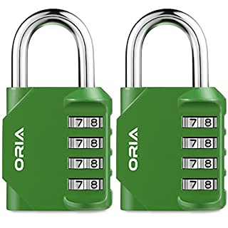 Oria 2 Pack Combination Padlock, 4 Digit Lock Set, Security Padlock, Mental and Plated Steel, Weather Proof Design for School Gym Locker, Sports Bag, Filing Cabinets, Toolbox, Case etc.(Green)