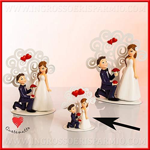 Cuorematto - statuine sposi in resina con albero della vita e cuori rossi portamemo, bomboniere solidali matrimonio, con scatola regalo inclusa, dimensione standard (con confezione arancione)