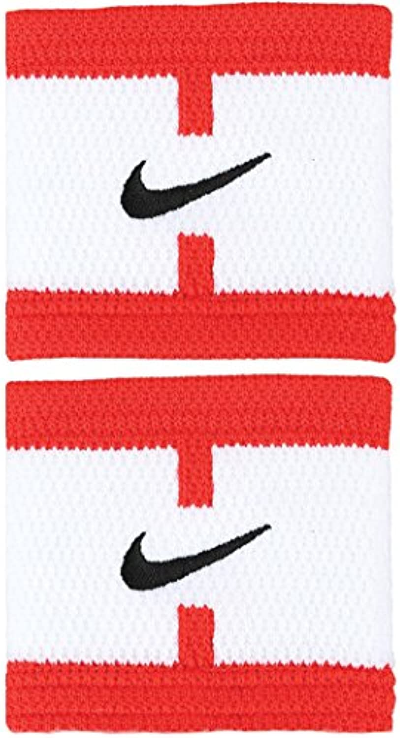 Nike Dri Fit Court Logo Wristbands (White/LT Crimson/Black)