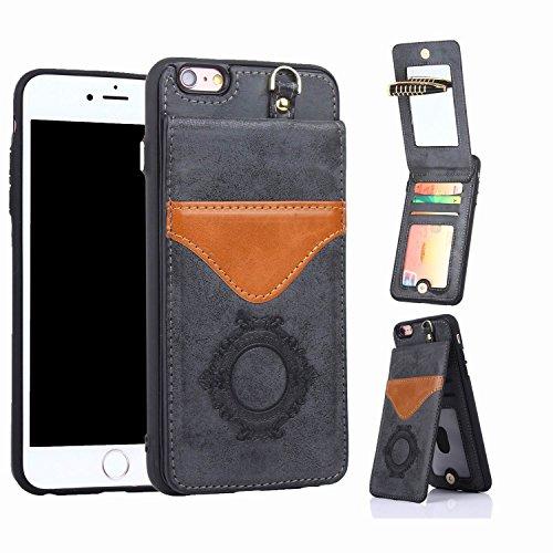 iPhone X Case mit Spiegel, iPhone X Wallet Case, orsent iPhone X Leder Fall mit Spiegel, Flip Schutzhülle mit Standfunktion & Kreditkarte Slots, unterstützt Wireless Charging, 03 Black for iPhone 6P -