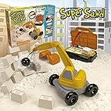 Goliath 83290 - Super Sand Brick City, modellierbarer Kinetik-Sand bringt Baustellen-Feeling ins Kinderzimmer, praktische Backsteinpress, Bagger mit Abrissbirne, ab 4 Jahren