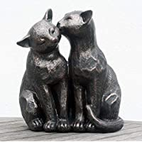 FHFY Garden A Pair of Bronze Effect Cats, 26cm (large) gardening ornament, indoor or outdoors.