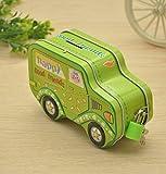 Sun Glower Geld Banken Bunte Cartoon Auto Piggy Bank Creative Zinn Aufbewahrungsbox Candy Jar (grün)