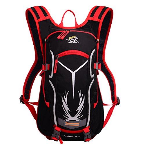 Obling 18L Outdoor Sports Wandern Radfahren Rucksack Wasserdicht Leicht Helm Halterung Schultertasche, rot, 50*16*29cm