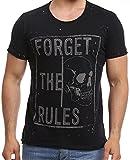 Herren T-Shirt Skull Rules Slim-Fit Kurzarm Motiv Freizeit Shirt mit Strasssteinen (M, Schwarz)