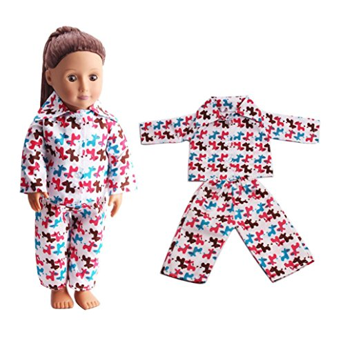 HKFV Nette Pyjama-Nachthemd-Kleidung für 18 Zoll unsere Generation American Girl Doll 18 Zoll American Girl Puppe Pyjamas 2 Sätze 2PCS/ Set 18 inch Dolls' Clothing (American Girl Puppe Grace Kleider)