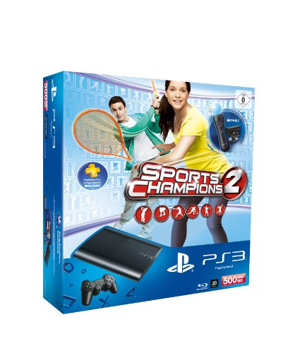 PlayStation 3 - Konsole Super Slim 500 GB (inkl. DualShock 3 Wireless Controller + Move Starter Pack + Sports Champions 2) (500 Gb Ps3 Bundle)
