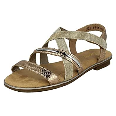 Ladies Rieker 65845 Rosa Leather Strappy Casual Sandals