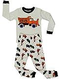 Elowel Kinder Jungen 6 M-8 Jahre Zweiteilger Schlafanzug Sandwagen 100% Baumwolle 116/6 Jahre