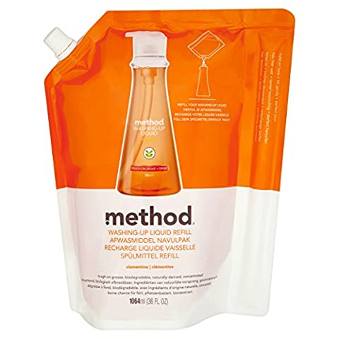 Method Clementine Washing-Up Liquid Refill, 1064 ml (Pack of 6)