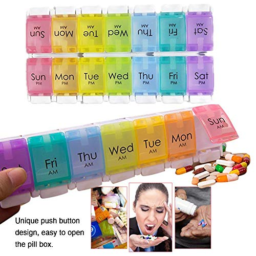 Pillenetui 7-Tage-Vormittag-Nachmittag Wöchentlich 14 Fächer, nicht leicht zu mischen, bunter wöchentlicher Reiseplaner für Pillen, tragbare Reise-Kits, tägliche 2-malige Erinnerung an Drogen (Rainbow
