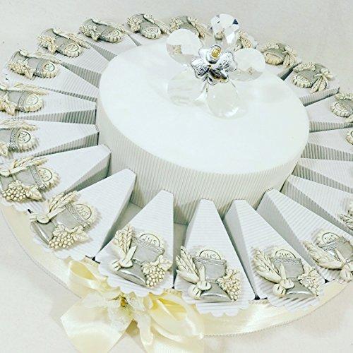 (20 bomboniere+1centrale) bomboniere cresima o comunione magnete argentato e centrale fiore con immagine argento torta bomboniera kkk (comunione)