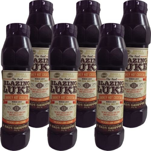 The Real Blazing Luke Barbecue Sauce Smokey Hot Cocktail 6 Flaschen á 750ml (Grill-Sauce)