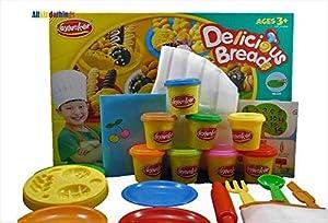 Allkindathings Delicious Breads Play Dough Plasticine Set de Arcilla con Traje de Cocinero y Accesorios