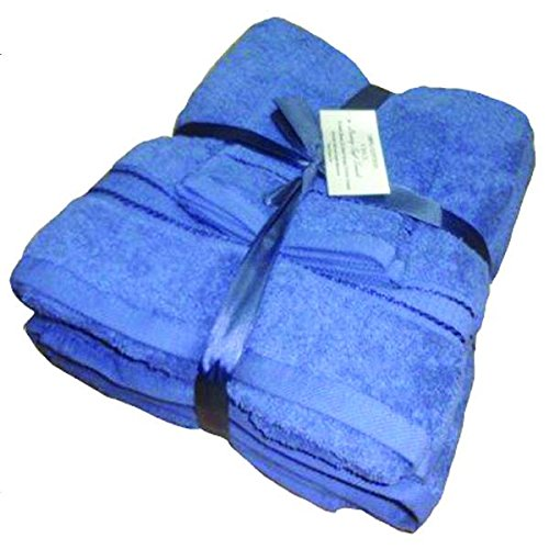 Navy 100% Cotton 6 Piece Towel Set (2 Jumbo Bath Sheets,2 Face Towels, 2 Hand) Towel Bale Super Soft Lint Free Supreme Quality Absorbent White,Navy,Charcoal,Latte,Stone,Wine,Aqua (6 Piece Towel Set, Navy)