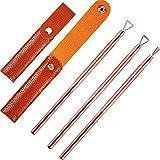 3 Piezas de Levantadores de Cutícula de Acero Inoxidable Triángulo Removedor de Esmalte de Uñas con 3 Bolsa de Almacenamiento (Dorado Rosado)