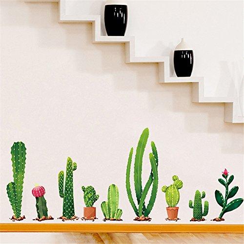 Wall Stickers Cactus Impianto Diy Cameretta Salotto Camera Cucina Adesivi Murali Rimovibile Impermeabile Arte Carta Da Pareti Decorazione Murales,Mambain