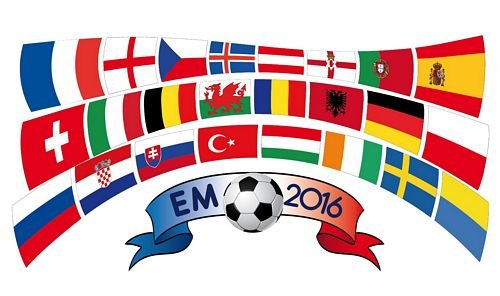 Fahnenkette EM 2016 Frankreich Fußball 12,8 m Fahne Flagge Flaggenkette