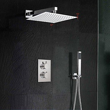 Miaoge 12 Inch Thermostatic Mixer Shower Rainlfall 300mm Ultra-Thin Waterfall Shower and Hand Held