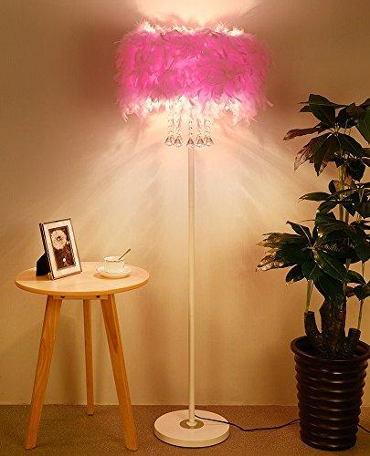 MILUCE Romantisch Federn Kristall Schatten Stehlampe Wohnzimmer Schlafzimmer Nachttisch Stehlampe (Farbe : Pink)
