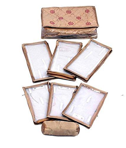 Kuber Industries Locker kit di gioielli in raso trapuntato con 6alette e braccialetto (oro)