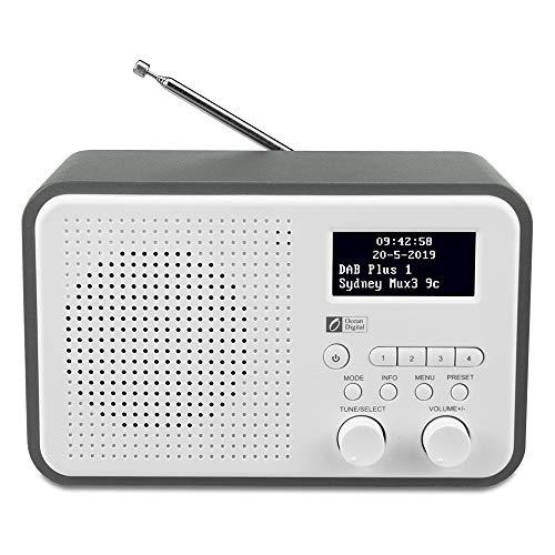 Ocean Digital DB332 DAB/DAB + / FM-Radio mit Lautsprecher, AUX-IN, Audio Out, Kopfhöreranschluss, bis zu 40 voreingestellten Sendern, Holzgehäuse (Grau) (Clock Große Radio Taste)