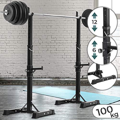 Physionics Hantelständer und Squat-Rack - Zwei Ablagen (12 und 6-Fach Höhenverstellbar), Anti-Rutsch Standbeine, max. Belastung: 100 kg - Hantelablage, Kniebeugenständer