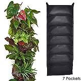 7 Taschen-Pflanztasche,ANGTUO Grün-Filz-Pflanztasche,korrosionsbeständig Umweltfreundliche grüne Pflanze Mauer,schwarz
